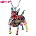 Bonsny Statement Maxi Alloy Enamel Bull Terrier Choker Necklace Chain Pendant Collar 2017 Fashion New Enamel Jewelry Women