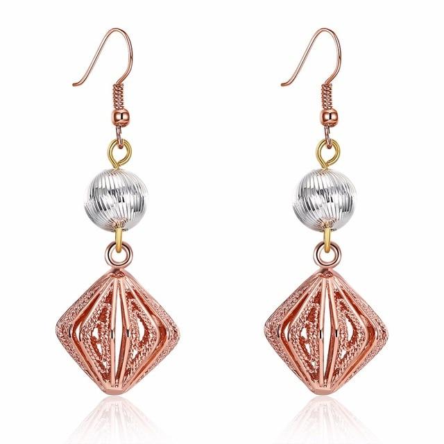 Rose Gold Color Hook Earring Women Beautiful Drop Earrings Geometric Ball Square Long Jewelry Indian