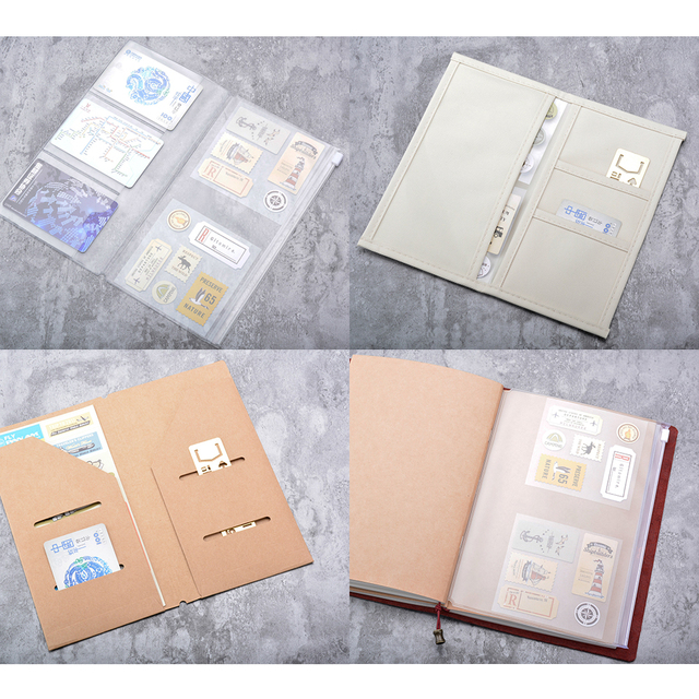 Traveler Notebook Accessory PVC Zipper bag Craft card holder Oxford fabric storage A5/Standard/Pocket/Passport for diary journay