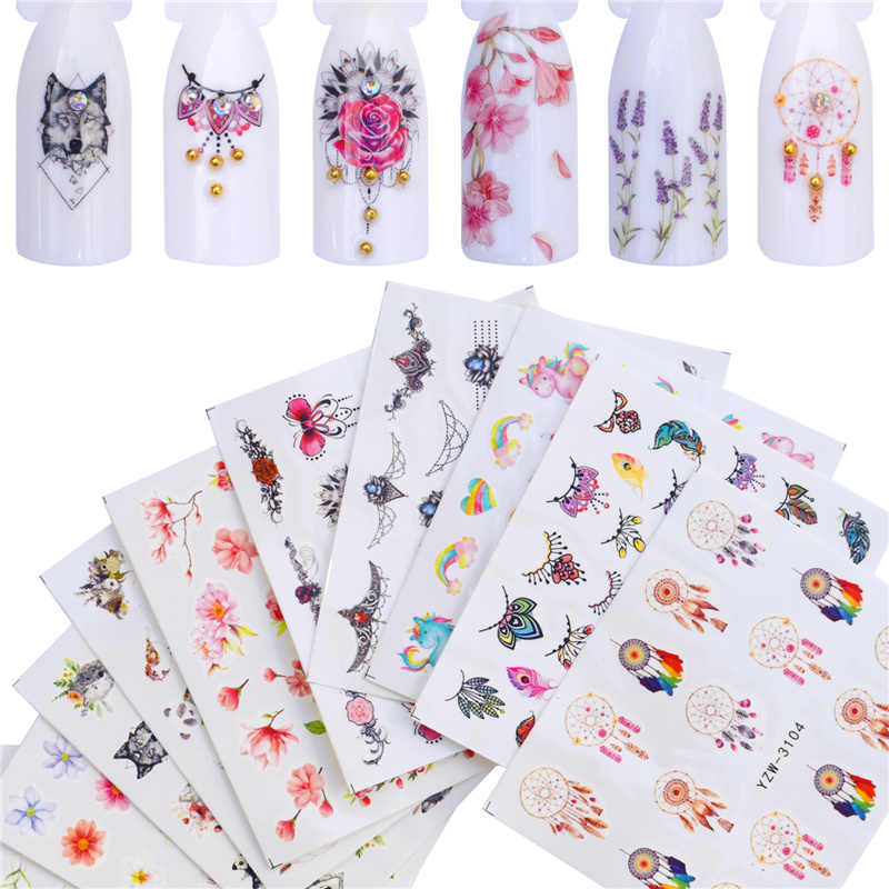 12 PCS Nail Stickers Water Decals Butterfly Rose / Wolf / Necklace / Plum Slider Manicure Nail Art Decoration