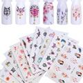 Наклейки для ногтей, 12 шт., наклейки с водой, бабочки, розы, волки, ожерелье, слива, слайдер для маникюра, украшения ногтей