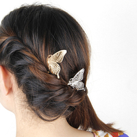 5pcs Women's Vintage Butterfly Golden Hair Comb Headwear Party Fashion Jewelry