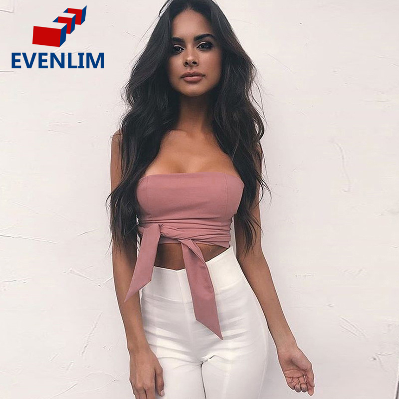 EVENLIM Lace up Black Camisole Tank Top Tees Women Zipper Bow Female Cami Crop Top Sexy