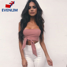 EVENLIM Lace up Black Camisole Tank Top Tees Women Zipper Bow Female Cami Crop Top Sexy Backless Sleeveless Short Top DR5026