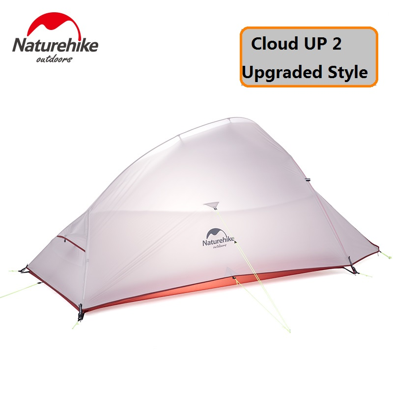 Naturehike Factory 2 Person CloudUp UPGRADED Tent 20D Silicone Fabric Double-layer Camping Tent Lightweight DHL free shipping naturehike factory store 2 1kg 3 4 person tent double layer waterproof fabric camping hiking fishing tents dhl free shipping