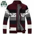 AFS JEEP Cashmere Inner High Warmly Russian Winter Cardigan Sweater,Fashion Design Real Man Elasticity Wide Striped Thickness