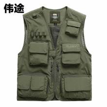 WEITU Summer Autumn Vest Men Multifunctional Mesh Fishing Vest Jacket Loose Multi-Pocket Outdoor Photography Angler Waist Coat