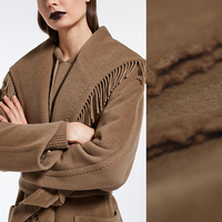 150CM Wide 750G/M Weight Camel Color Gray Tassels Lambsdown Wool Fabric for Autumn Winter Scarf Jacket Dress Outwear E866