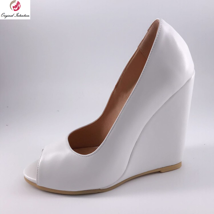 Original Intention Super Fashion Women Pumps Popular Peep Toe Wedges Pumps Elegant White Shoes Woman Plus US Size 4-15