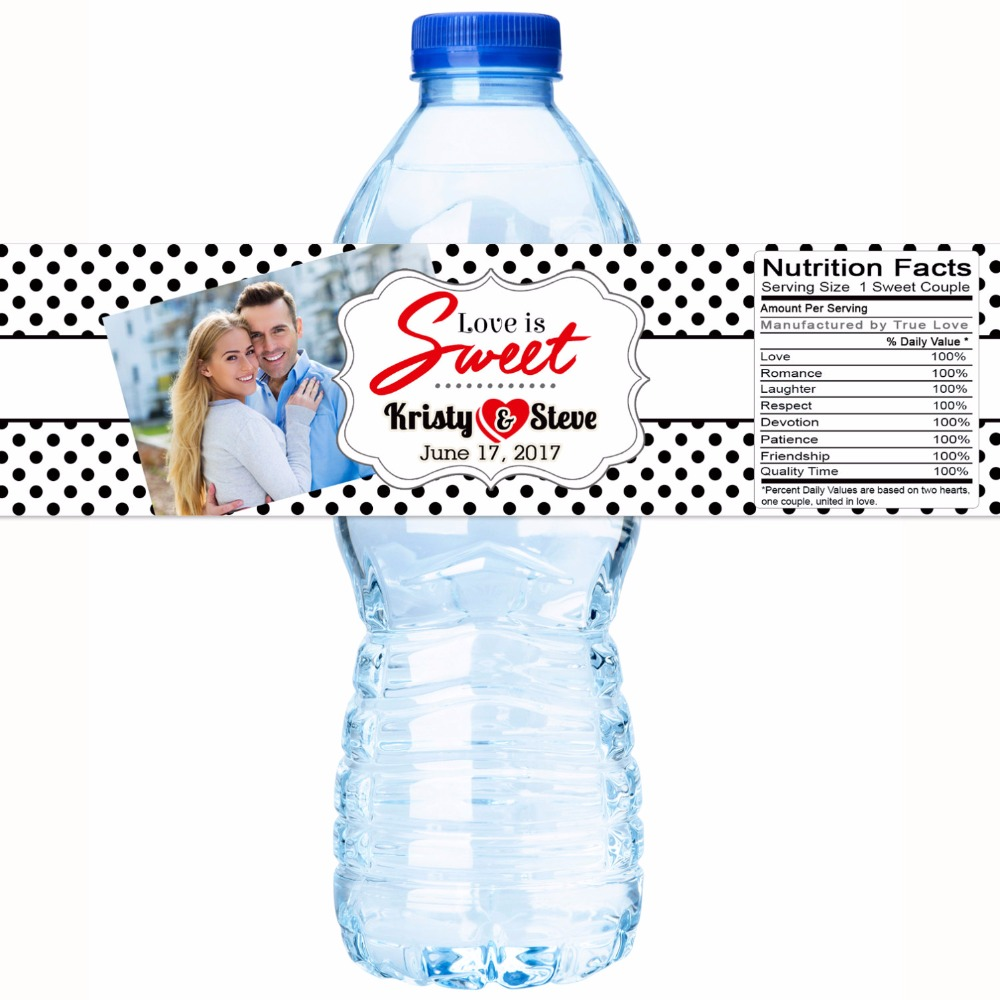 Water Bottle Name Tags: Customized Name Couple Photo Personalized Water Bottle