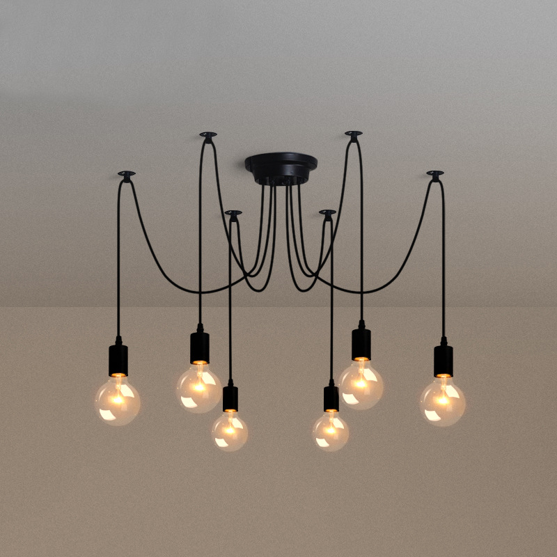 Creative Electrical Wire Pendant Light With 8 Heads Edison Bulb Pendant Lamp Vintage Spider