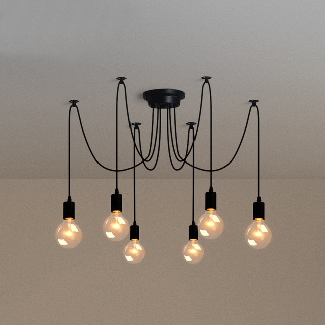Creative Electrical Wire Pendant Light With 8 Heads Edison Bulb Pendant Lamp  Vintage Spider Ceiling Lamps