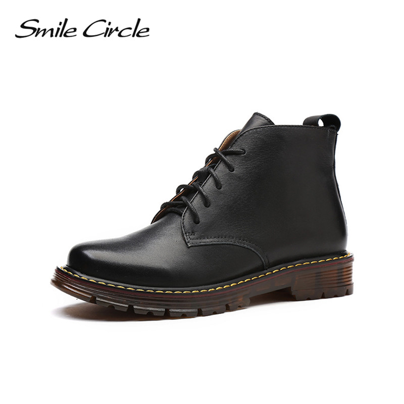 Autumn Winter Shoes For women ankle boots Lace-up Round toe Genuine Leather boots women Martin boots platform boots botas 2017 new autumn winter shoes for women ankle boots genuine leather boots women martin boots lace up platform combat boots botas