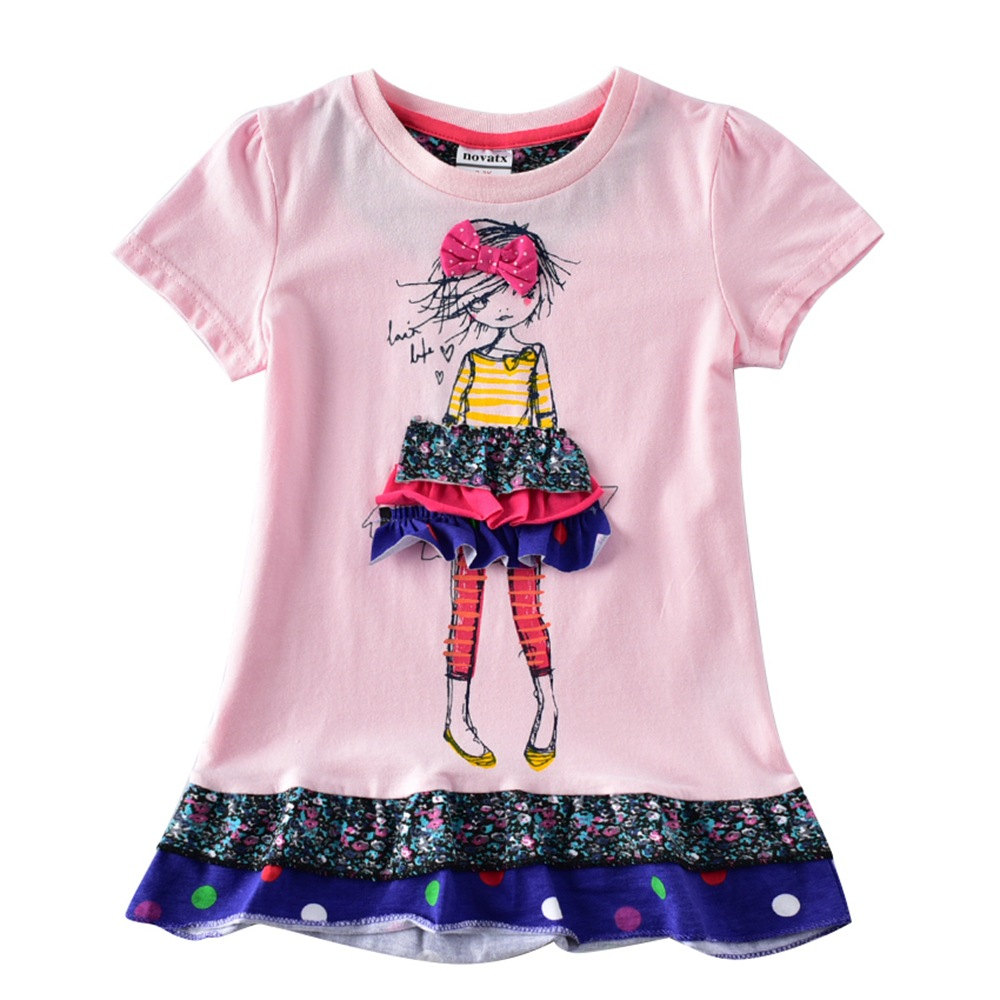 2019 Summer Short Sleeve Cotton Girls Dress Foral Cartoon Print Casual Kids Dresses for Girls Girls Kid Clothes Vestidos in Dresses from Mother Kids
