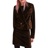 2018 winter skirt suit casual two piece set velvet womens clothing leopard skirt blazer set long sleeve 2 piece set women
