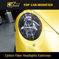 Free shipping 100% Real Carbon Fiber Headlights Eyebrows Eyelids For Porsche 911 997