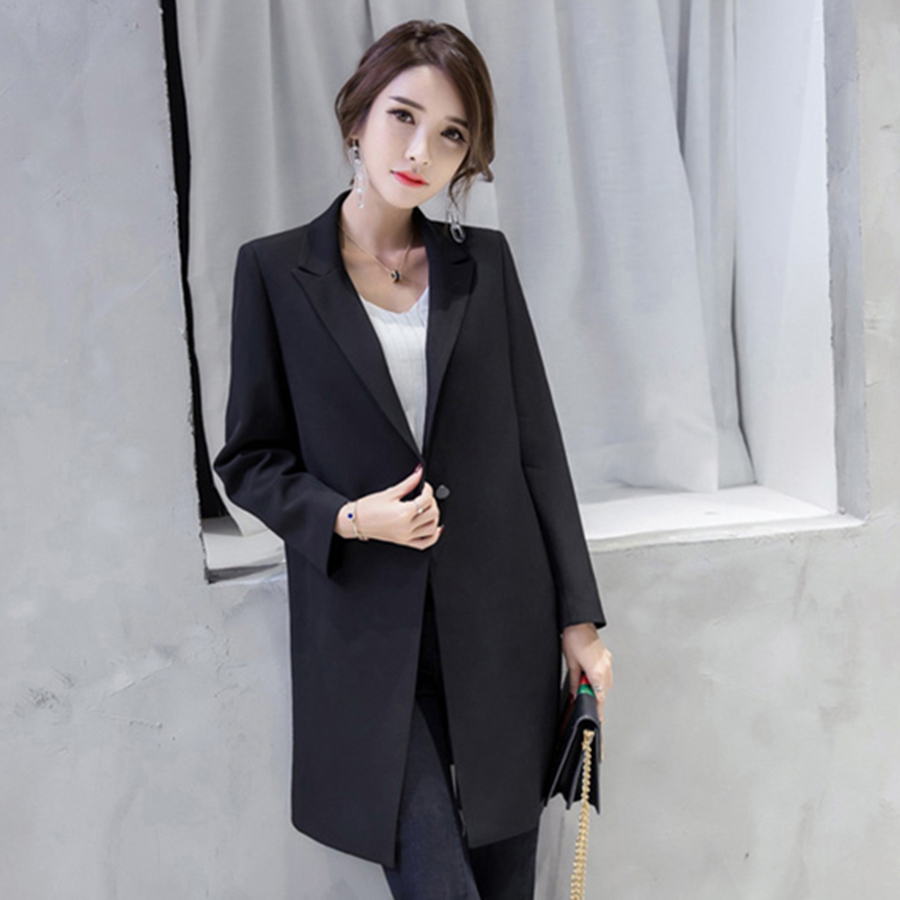 Casual Slim Plus Size White Women Blazer Long Black Jacket Female Business Suit Casaco Feminino Ladies Suit Campera Mujer 50N525