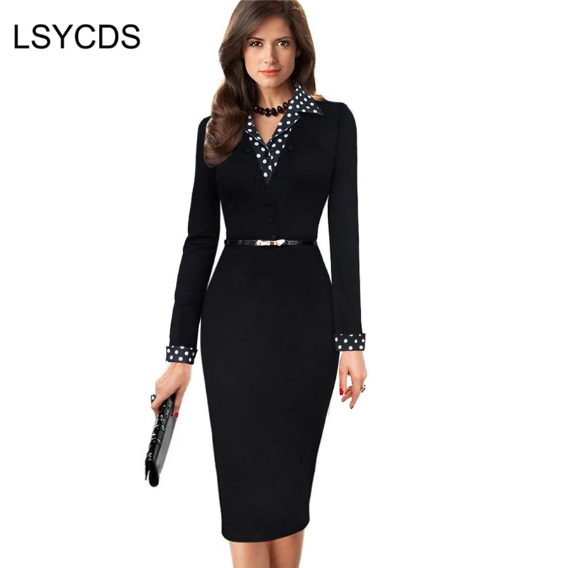 2020 Polka Dot office <font><b>Dress</b></font> <font><b>Elegant</b></font> <font><b>Formal</b></font> <font><b>Black</b></font> Lapel Party Work Business Wear Slim Bodycon Robe Femme Pencil <font><b>Dress</b></font> With Belt image