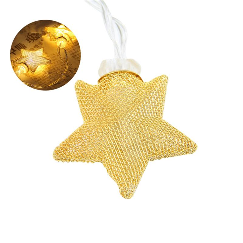 5M Battery Operated Warm White LED String Light 40-LED Metal Star String Fairy Light for Festival Christmas Party Wedding (Gold)