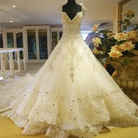 Gerçek Custom Made Lüks Katedrali Tren A Hattı Cap Sleeve Vintage Düğün Elbise 2016 Gelin Elbiseler Vestidos de noiva