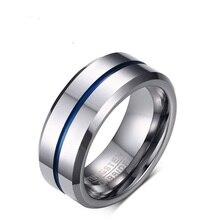 8MM tungsten Blue, Silver, Mens Ring