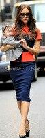 Fashion Color Block Victoria Beckham Dress Elegant Slim Work Dresses 2803