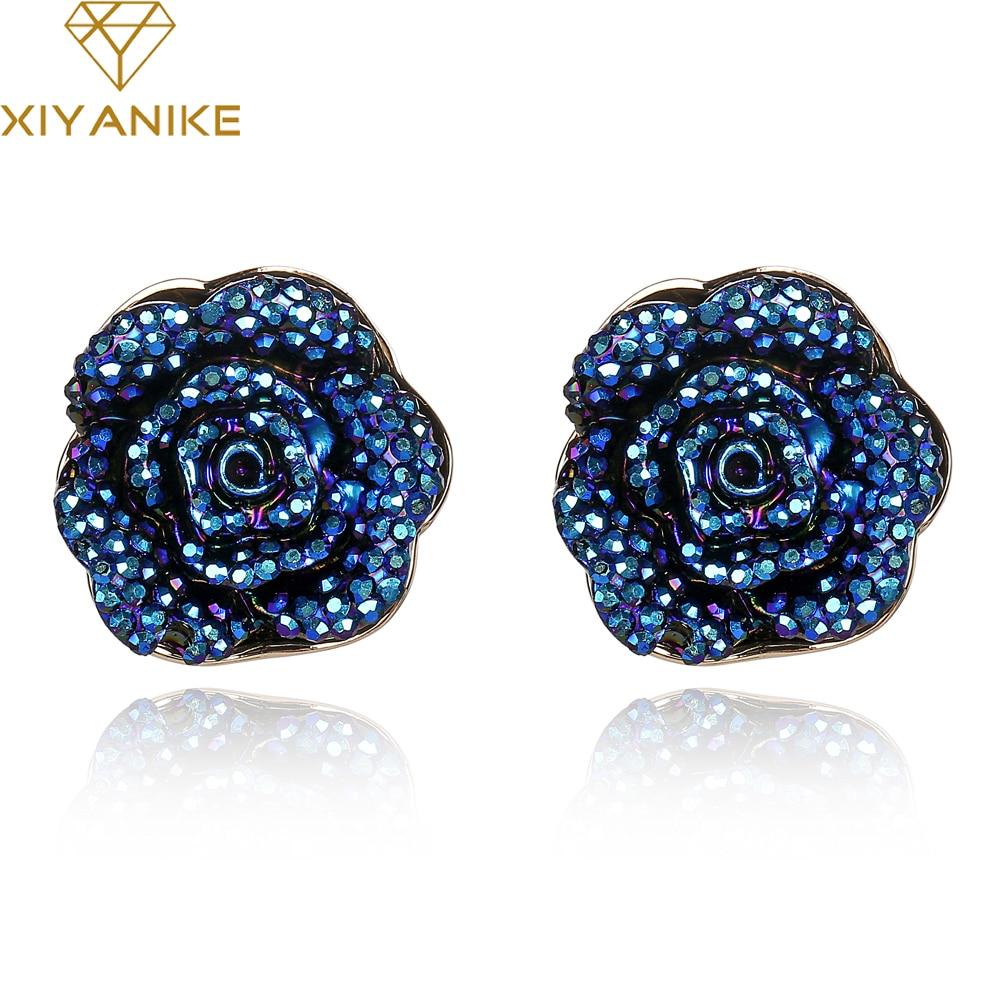 Новый Брендовая Дизайнерская обувь Jewelry синие розы свадебные серьги многослойных смолы цветок Для женщин Аксессуары; Бесплатная доставка XY-E529