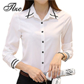 TLZC Large Size S-4XL Office Lady White Shirts Stripe Pattern Korean Style Autumn Women Blouse Slim Fit Lady Formal Shirts