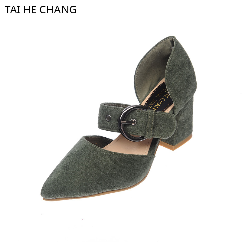 2017 Korean Style Pointed Toe Pumps All-Match With Flock Thick Heels Buckle Strap Shallow Women Shoes Zapatos Mujer Sapato