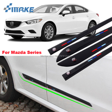 smRKE Car styling 4 pcs Rubber Doors High Quality Side Anti Scratch Protector Bumper Guard Scratch Guard Sticker Label For Mazda