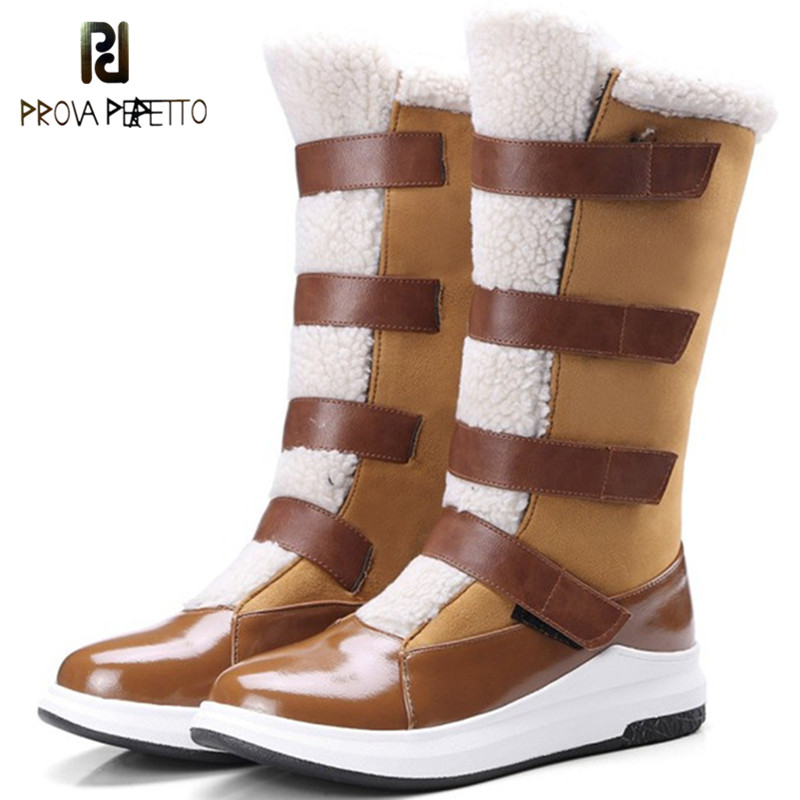 Prova Perfetto 2018 Winter Warm Wedges Boots Woman Durable Military Boots Platform Mid Boots Plush Women Boots Large Size 43Prova Perfetto 2018 Winter Warm Wedges Boots Woman Durable Military Boots Platform Mid Boots Plush Women Boots Large Size 43