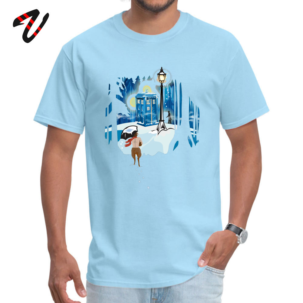 The Birches (in Blue) T-shirts Fitted Short Sleeve Funny 100% Cotton Crewneck Men Tees Gift Top T-shirts Summer The Birches (in Blue) -22612 light