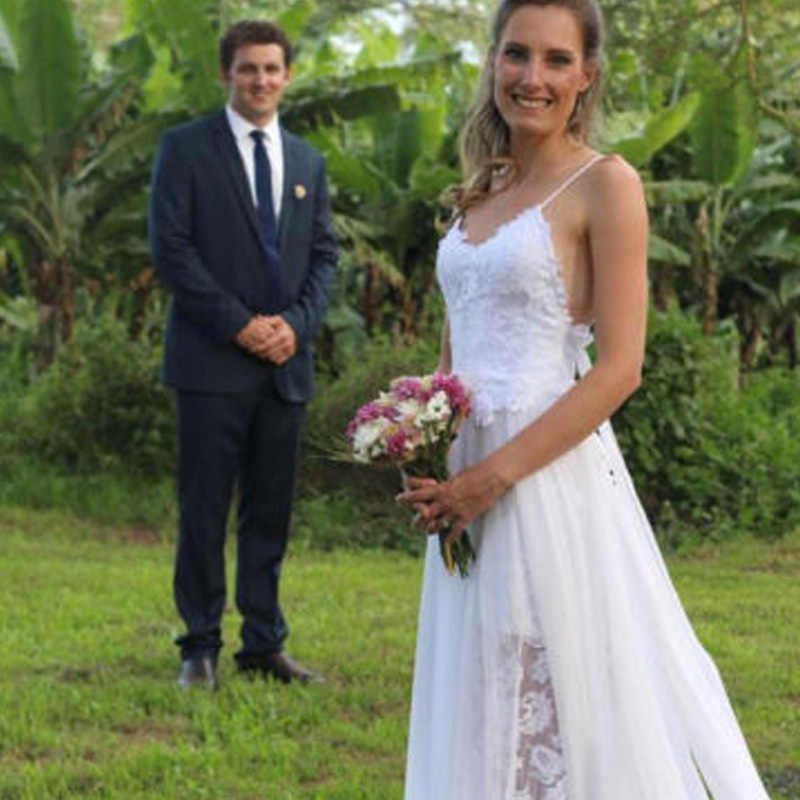 LORIE Praia Do Vestido de Casamento Ver Através Robe De Mariee 2018 Puffy Chiffon Cintas de Espaguete Vestido de Casamento Sexy Vestidos de Noiva Boho