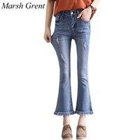 2018 г. Демисезонные женские Flare джинсы в стиле ретро клеш узкие джинсы женские светло-голубой сплошной широкие брюки джинсы Юн