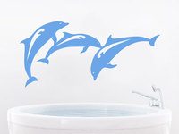 Ocean Sea Animal Wall Stickers For Kids Rooms Dolphins Pattern Bathroom Vinyl Wall Decal Waterproof Cute