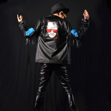 Male leather jacket singer DJ stage costumes men fashion tassels splicing coat leather jacket cool outerwear K628
