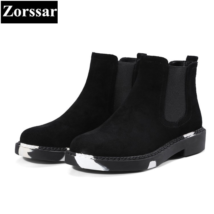 {Zorssar} 2017 NEW fashion pearl Casual shoes flat heel Martin boots Cow suede womens ankle Boots autumn women flats boots front lace up casual ankle boots autumn vintage brown new booties flat genuine leather suede shoes round toe fall female fashion