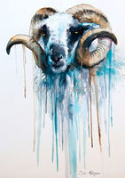 Modern Art Abstract Wholesale Good Quality Animal Oil Painting Lovely Goat Head Wall Pictures Home Decor Paintings On Canvas