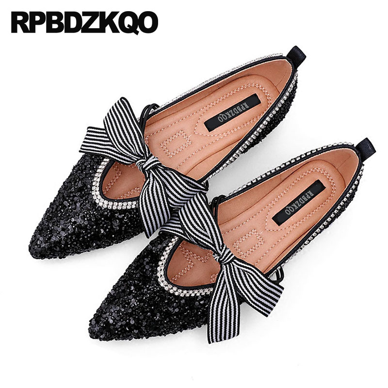 Silver Women Flats Shoes With Little Cute Bowtie Crystal Sequin Pointed Toe Bling Wedding Black Mary Jane Glitter Bow Large Size japanese mary jane big bow flats soft suede black pointy women dress shoes ladies pointed toe cute 2018 kawaii velvet european
