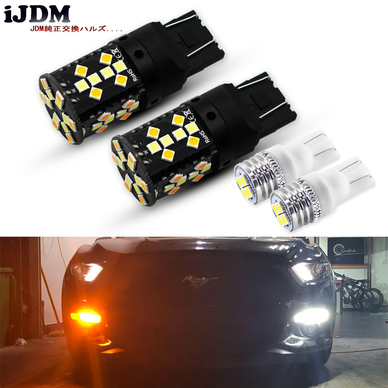 No Hyper Flash Amber/White Dual Color 7443 <font><b>LED</b></font> Turn Signal Light Bulbs White T10 <font><b>LED</b></font> Parking Clearance Lights For Ford <font><b>Mustang</b></font> image