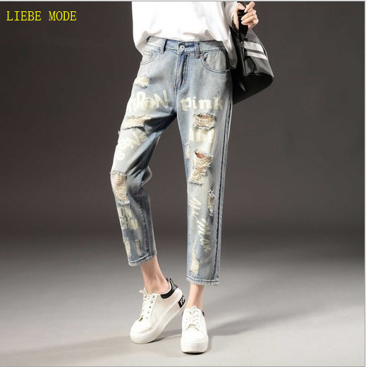 Plus Size 7XL Vintage Handwork Printed Denim Jeans Ripped Jeans For Women Loose Pants Pantalones Vaqueros Mujer Hole Pants fashion distressed hole ripped boyfriend jeans for women cotton stretch denim pants pantalon femme vaqueros mujer s xxl