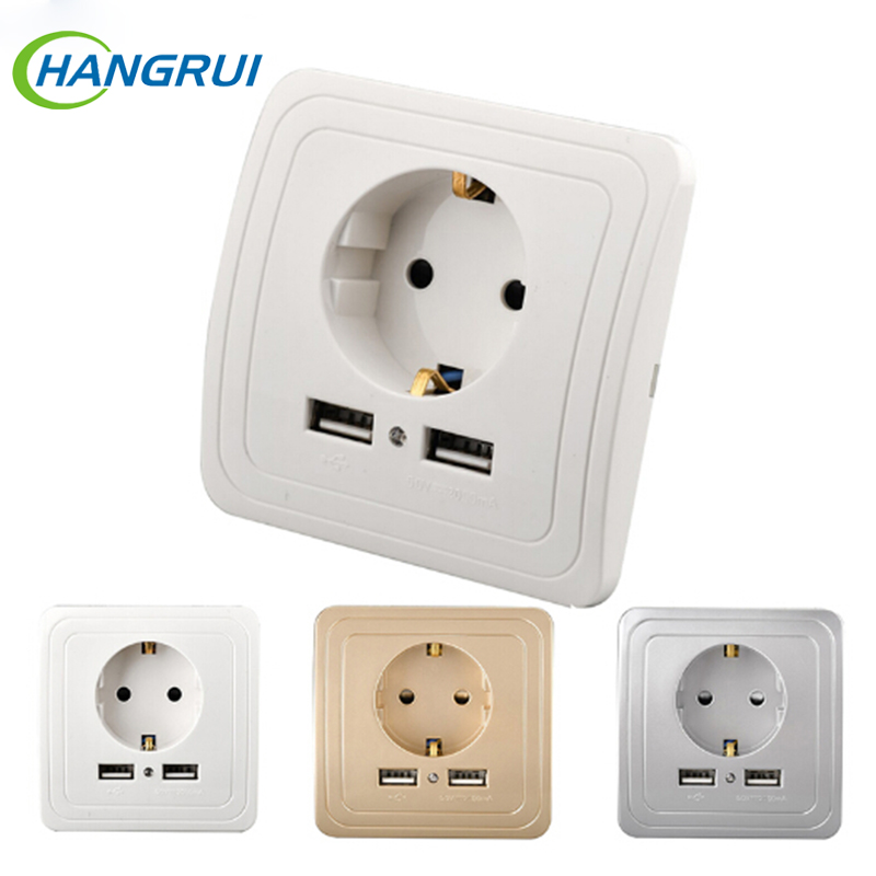 Anti-shock EU Plug Socket Dock Station Charging Panel Switch Powder Standard Outlet Dual USB Port 5V 2A Electric Wall Charger dock connector to usb cable