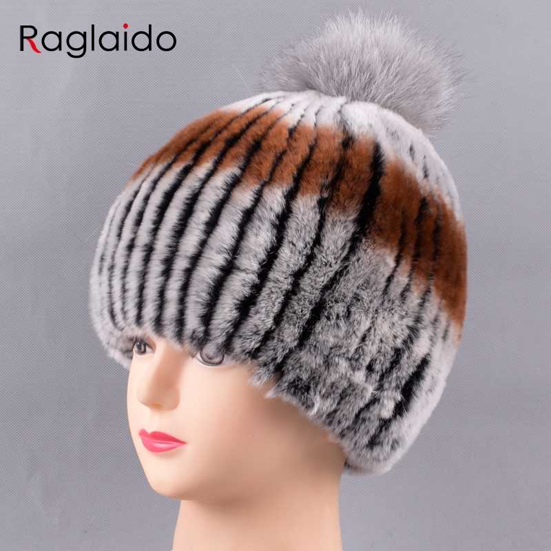 2895e1bf5f9 ... Raglaido Russian Fur Pompom Hats Women Winter Real Rabbit Fur Hat  Beanies Handsewing inner woolen skulls