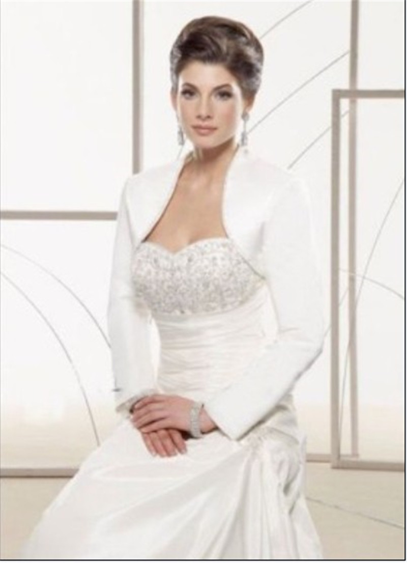 New white satin wedding bridal bolero jacket wrap long for Dress jackets for wedding