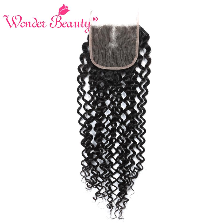 Wonder Beauty Brazilian Hair Weave Bundles Afro Kinky Curly Hair Lace Closure Middle Part 4x4 Human Hair Lace Closures Non Remy