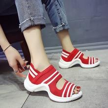 Женская Повседневная прогулочная обувь красного цвета, женские босоножки, визуально увеличивающие рост, дышащая женская обувь
