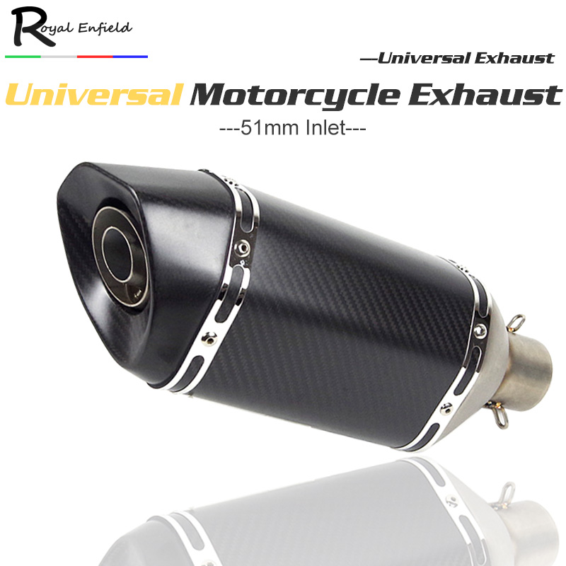 Universal motorcycle exhaust muffler pipe carbon fiber exhaust baffle with DB killer for MT09 CB400 CBF190R Z250 Ninja300 Z750 zs racing 51mm real carbon fiber motorcycle exhaust pipe motocross muffler with db killer cb400 cbr for kawasaki z800 z750 er6r