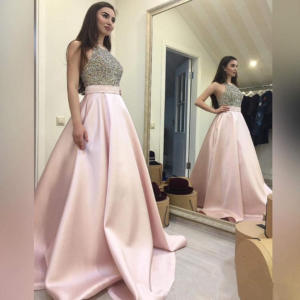 Fashion Pink Beading Halter Neck A-Line   Evening     Dresses   Long Sexy Backless Prom Gowns Party   Dress   Formal   Dress   Abendkleider 2017