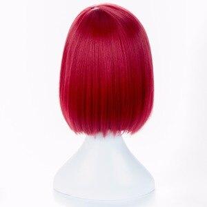 Image 4 - Danganronpa V3 Killing Harmony Yumeno Himiko Wine Bangs Bob Anime Cosplay Hair Wig 35cm + wig cap