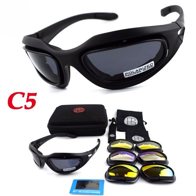3097bbddb3 Táctico C5 gafas de deporte gafas de sol polarizadas de tiro gafas de  seguridad al aire